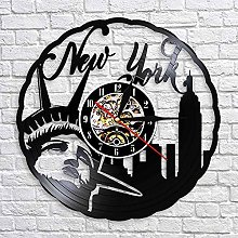 QIANGTOU Skyline Vintage Vinyl Record Wall Clock