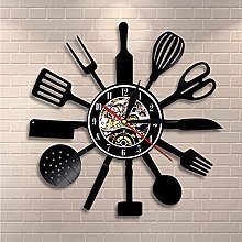 QIANGTOU Vintage Kitchen Cutlery Vinyl Record Wall