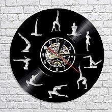 QIANGTOU Yoga Studio Wall Clock Gymnastics Vinyl