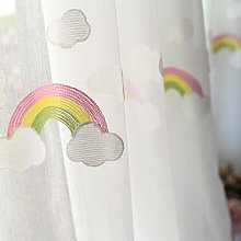 Qiaogth Children Embroidery Rainbow Sheer Curtain