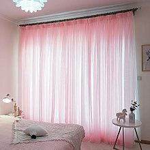 Qiaogth Simple Style Pink Sheer Curtain For