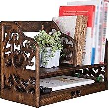 QIAOLI Desktop Bookshelf 2-Tiers Solid Wood