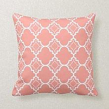 qidushop Coral Pink Quatrefoil Geometric Pattern