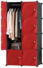 QIFFIY wardrobe Red Wardrobe Portable Wardrobe
