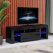 QIHANG-UK Black TV Stand Cabinet Unit with LED