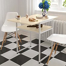 QIHANG-UK Dinning Table with Storage Shelf for Kitchen Dining Room Rectangular 2 Tier Dining Room Table Dining Kitchen Table with Chrome Legs 120*60*H75cm Modern Utility for Dining Guest Receiving
