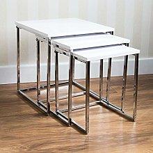 QIHANG-UK Nesting Tables Chrome Metal Set of 3