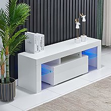 QIHANG-UK White TV Stand Cabinet Unit with Lights,