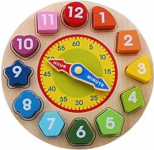 QIHang Wooden Clock Toy with Numbers and Shapes