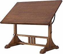 QiHaoHeji Drawing Desk Hobby Table Retro Solid