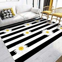 qijidzswyxgs Modern Rug Black and white stripes,