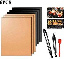 Qikafan 6 PCS BBQ Grill Mat, Non Stick Reusable