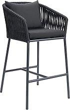 QILIYING Bar Chairs Bar Stools 2 Pcs Black Outdoor