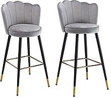 QILIYING Bar Chairs Bar Stools 2 Pcs Modern Grey