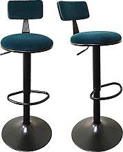 QILIYING Bar Chairs Bar Stools 2 Pcs Vel-vet