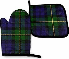 Qinckon Scottish Plaid Green Black Blue Kan Oven