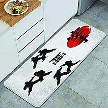 QINCO Anti-Fatigue Kitchen Floor Mat,Hieroglyph of