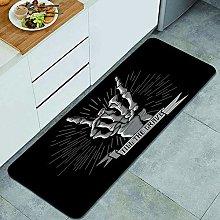 QINCO Anti-Fatigue Kitchen Floor Mat,Rock Band