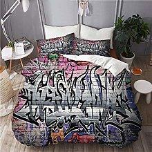 QINCO bedding-Duvet Cover Set,Graffiti Grunge Art