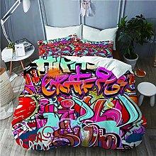 QINCO bedding-Duvet Cover Set,Graffiti wall urban