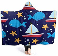 QINCO Wearable Hooded Blanket Plush Wrap,Baby And
