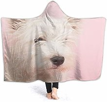 QINCO Wearable Hooded Blanket Plush Wrap,Pink Dog