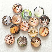 QINGJIA (14pcs/lot) Cute Cat Round Glass Fridge