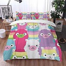 Qinniii Duvet Cover Bedding Sets,Colorful Lama