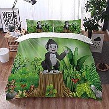 Qinniii Duvet Cover Bedding Sets,Cute Baby Gorilla