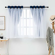 QINUO HOME Blackout Curtain Sheers - Star Curtain