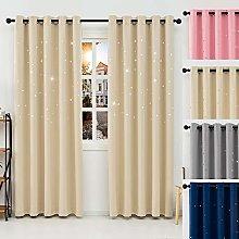 QINUO HOME Blackout Curtains - Star Curtain Silver
