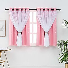 QINUO HOME Blackout Curtains With Sheer for Girls