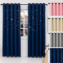 QINUO HOME Blue Blackout Curtains - Star Curtain
