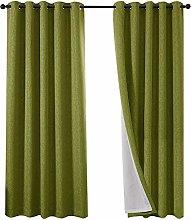 QINUO HOME Faux Linen Blackout Curtain 90x90 -