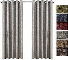 QINUO HOME Faux Linen Blackout Curtains 90x90 -