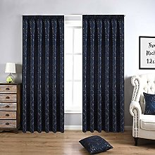 QINUO HOME Floral Jacquard Lined Blackout Curtain