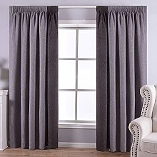 QINUO HOME Linen Fully Lined Silver and Grey