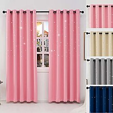 QINUO HOME Pink Blackout Curtains 46-inch Wide by