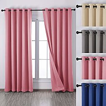 QINUO HOME Pink Eyelet Blackout Curtains for Kids