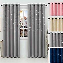 QINUO HOME Silver Blackout Curtains - Star Curtain