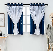 QINUO HOME Star Curtains Ombre Blackout Curtains