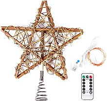 Qirun Christmas Rattan Tree Topper Star with USB