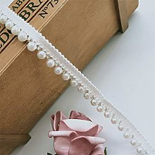Qiuda 1 Metre Pearl Lace Trim Ribbon with Beads