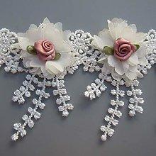 Qiuda 10pcs Flowers 3D Chiffon Floral Lace Ribbon