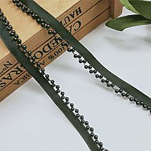 Qiuda 2 Metres Pearl Lace Trim Ribbon with Beads