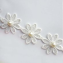 Qiuda 20pcs Flower with Beads Pearl White Black
