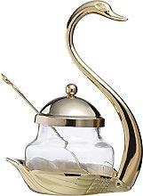qiuqiu Glass Spice Jar with Lid And Spoon Swan