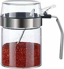qiuqiu Spice jar with spoon,Kitchen Glass Sugar