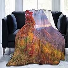 QIUTIANXIU Throw Blanket 150 x 200 cm,Sunrise With
