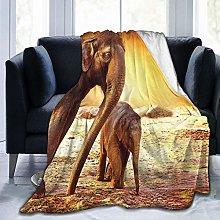 QIUTIANXIU Throw Blanket 150 x 200 cm,Zoo Mother